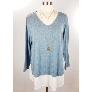J Jill Heathered Blue Soft Layered Tunic Top XL